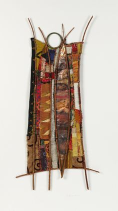 "20"" X 30""; wood, copper, brass ring, found and embellished textiles, sticks."
