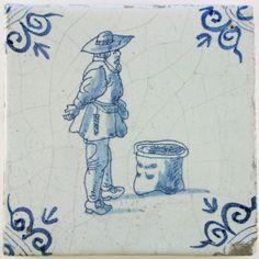Antique Dutch Delft tile with a market vendor in blue, 17th century