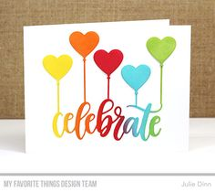 Celebrate Die-namics, heart-Shaped Balloon Die-namics - Julie Dinn #mftstamps