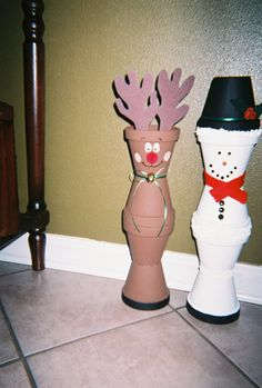 Reindeer and Snowman Clay Pot Greeters