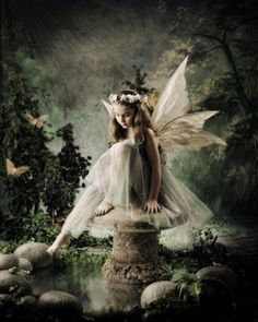 The water is still too co...............old.  Angel/Fairy. Fantasy Art.