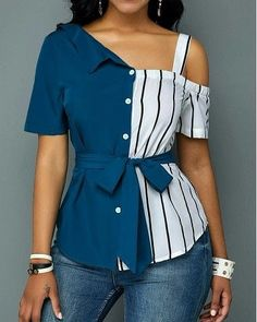 Stylish Tops For Girls, Trendy Tops, Trendy Fashion Tops, Trendy Tops For Women African Print Fashion, African Fashion Dresses, Diy Fashion, Ideias Fashion, Fashion Outfits, Fashion Sewing, Fashion Women, Trendy Tops For Women, Blouses For Women