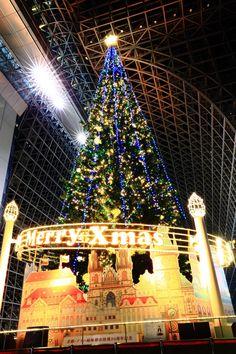 クリスマスツリー 京都駅ビル イルミネーション 豪華