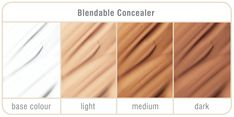 Includes three blendable concealers with a base colour Skin Color Tattoos, Corrective Makeup, Rosacea, Acne Scars, Smudging, Concealer, Light Colors, Camouflage, Amanda