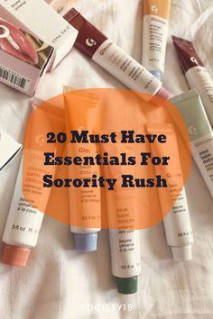 20 Must Have Essentials For Sorority Rush College Trends, College Hacks, Sorority Rush, Sorority Life, Best Hairspray, Mini Umbrella, Best Lip Balm, Makeup Wipes, Sorority Crafts