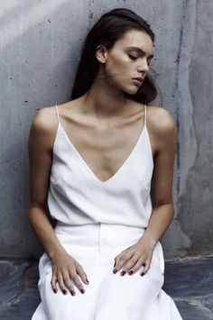 minimal white cami top