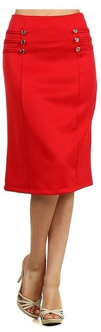 Red Solid Button Detail Fitted Plus Size A-line Fashion Skirt U.S.A