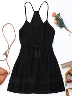 Spaghetti Straps Drawstring Waist Summer Dress - BLACK S