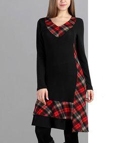 Love this Black & Red Plaid V-Neck Dress on #zulily! #zulilyfinds