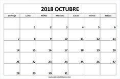Para Imprimir Calendario Octubre 2018