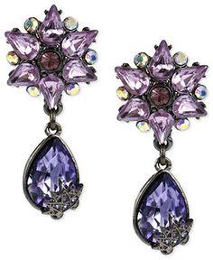Betsey Johnson Earrings, Hematite-Tone Multicolored Glass Crystal Teardrop Earrings