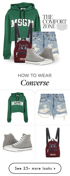 """Comfortable Look 4231"" by boxthoughts on Polyvore featuring MSGM, Gucci, Kenzo and Converse"