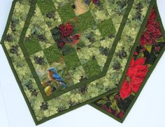 Reversible Table Runner, Backyards Birds, Christmas Poinsettias, Quilted by MiniMade on Etsy