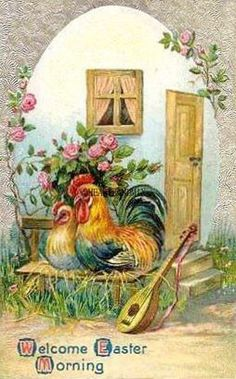 Vintage Easter Greeting with Rooster and Hen Easter Greeting Cards, Vintage Greeting Cards, Vintage Postcards, Easter Art, Easter Crafts, Vintage Easter, Vintage Holiday, Arte Do Galo, Rooster Cross Stitch