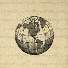Earth Globe World Map Digital Image Graphic Planet Download Printable Antique Clip Art. Digital graphic image from antique artwork. This high resolution, high quality printable digital illustration works well for fabric transfers, printing, papercrafts, t-shirts, pillows, tote bags, and other great uses. This image is high quality, large at 8½ x 11 inches. Transparent background version included with all images.