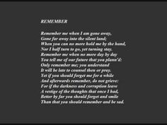 Emma Fielding reads 'Remember' by Christina Rossetti