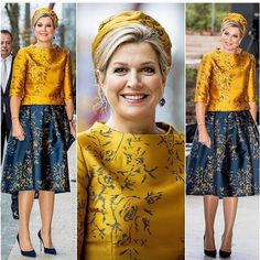 Queen Maxima opened the new office building of the Charity Lotteries in Amsterdam wearing a striking gold and blue outfit that had a matching hat and jewels African Fashion Dresses, Hijab Fashion, Fashion Outfits, Womens Fashion, Thai Dress, Queen Maxima, Kurta Designs, Royal Fashion, Formal Dresses