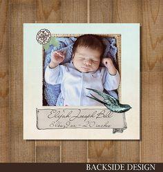 5x5 Vintage Birth Announcement CUSTOM, PRINTABLE Flat Card