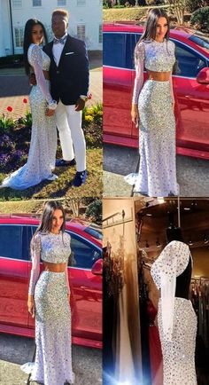Backless White Prom Dresses With Sleeves Long Length Skirt Slim Open Backs Prom Gowns