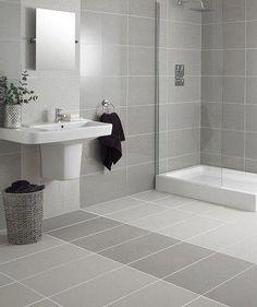 white and grey bathroom floor tiles Gray And White Bathroom, Bathroom Interior Design, Shower Room, Grey Bathroom Tiles, Small Bathroom, Modern Bathroom, White Bathroom, Bathroom Flooring, Bathroom Decor