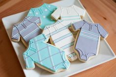Hand Decorated Sugar Cookies Baby Boy Onesies by BeesKneesCreative, $52.00
