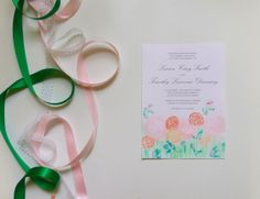 Sweet, elegant watercolor wedding invitation by Paper Melody's