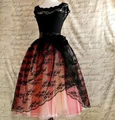 Black lace and red  tulle tutu skirt. French black chantilly lace over lined tutu skirt. Your choice of two tulle colors.