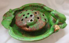 Weller Pottery Coppertone Pattern Frog Planter Rare 1920s - 1930s