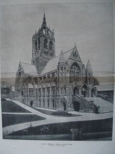 An Original Photogravure of the Coat's Memorial Church in Paisley, N. Hippolyte J. From the American Architect and Building News, November This is an orig Scotland Castles, Scottish Castles, Paisley Scotland, Church Pictures, Old School House, Europe, Cathedral Church, Religious Architecture, Old Churches