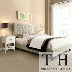 TRIBECCA HOME Sophie Taupe Velvet Bed with Two White Retangular Nightstands   Overstock.com Shopping - Great Deals on Tribecca Home Beds