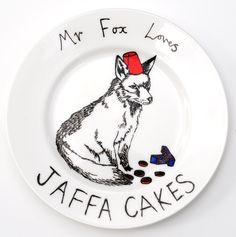 Hand Painted Side Plate - Mr Fox loves Jaffa Cakes. $35.50, via Etsy.