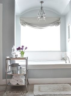 In the master bathroom is (shoot me now, I know) another custom color I mixed up with leftover paints …. but I've color matched it too so here's a few close ones: Valspar's 'Clothesline Fresh',Glidden's 'Grey Leaf', and Sherwin Williams 'Silver Mist'.
