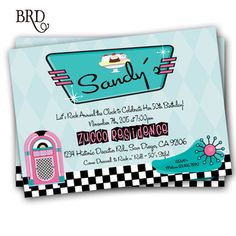 50's Party Invitation Sock Hop Rock 'n by BradfordPartyDesigns