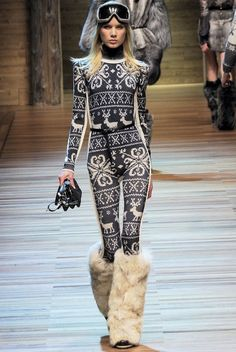 patterned ski suit