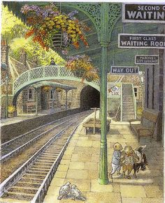 helen warlow ‏ minutes ago An Illustration for 'Wind in the Willows by Inga Moore. Dr S posting this as it's set in a Railway Station (never Train Station) Children's Book Illustration, Book Illustrations, Fantasy Art, Book Art, Fairy Tales, Illustrator, Photos, Drawings, Artwork