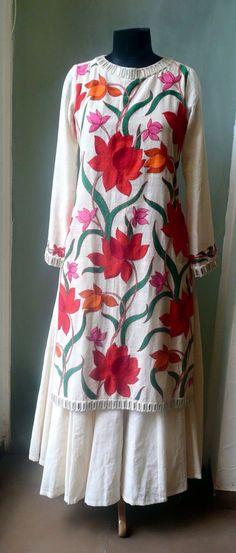 Designer Suit with Kashmiri Work- Beautiful designer suit with Kashmiri work. Pakistani Dresses, Indian Dresses, Indian Outfits, Indian Attire, Indian Ethnic Wear, Kurti Patterns, Dress Patterns, Kurta Designs, Blouse Designs