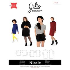 Nicole Shift Dress, Tunic and Tee Jalie Sewing Pattern 3903 from Sew Essential. Sweat Shirt, Patron Simplicity, Patron Butterick, Blouse Ample, Shirt Dress Pattern, Dressmaking Fabric, Easy Sewing Projects, Sewing Ideas, Couture Sewing