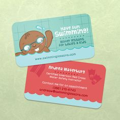100 Business Cards Custom for Swimming Teacher by hautecards, $25.00