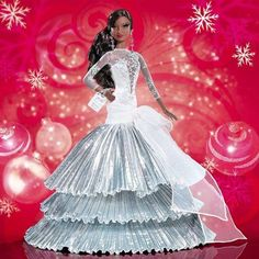 Brand: BarbieFeatures: 2008 Holiday Barbie doll sparkles in a shimmering white and silvery gown 20th year anniversary of holiday Barbie She wears a glitter-detailed gown with a tiered pleated skirt Features beautiful chandelier earrings The first holiday Barbie that resembles a silver snow flake Binding: ToyRelease Date: 01-06-2008Details: From the Manufacturer As the snowflakes fall, our 2008 holiday Barbie doll sparkles in a shimmering white and silvery gown. Celebrating 20 years of… New Barbie Dolls, Mattel Barbie, Barbie Dress, Barbie Clothes, Christmas Barbie Dolls, Diva Dolls, Doll Dresses, Barbie Theme, Barbie Birthday