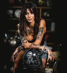 Vices and Virtues - Some Of the Things I Like Motorbike Girl, Motorcycle Outfit, Lady Biker, Biker Girl, Hot Tattoo Girls, Girl Tattoos, Bobber, Motard Sexy, Chicks On Bikes