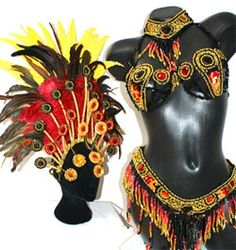 """Gladiador""  Samba Costume  10-piece luxurious black bead costume with upper armbands and headdress.  Fantasia 10 peças preta com brazaletes e cabeça  Size:S with C-cup bra ( UK/AU 10 US 8 EU 36 BR P)  PRICE: £429 + postage"