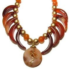 Carnelian Necklace 02 Beaded Orange Donut Moon Gold Wood Gemstone Reiki Healing 19  Price : $85.00 http://www.idigcrystals.com/Carnelian-Necklace-Beaded-Gemstone-Healing/dp/B007RI7XA8