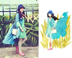 In a swamp. (by Nancy Zhang) http://lookbook.nu/look/1806392-In-a-swamp    Love her illustrations!