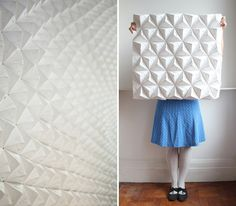 Origami wall panel made for an exhibition at the Lighthouse, Scotland's Centre for Design and Architecture in 2013. For more origami experiments, paper lampshades and origami lighting please visit: http://foldability.co.uk Foldability // Kyla McCallum