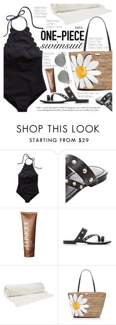"""""""Yep, They're In! The One-Piece"""" by pokadoll ❤ liked on Polyvore featuring Clinique, Balenciaga and Kate Spade"""