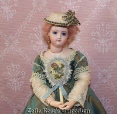 FRENCH FASHION DOLL Accessory~Small Fireside Fan~BLUES~by Zofia Rose's Emporium