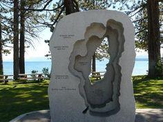 Sculpture of Lake Tahoe at North Tahoe Beach in Kings Beach, CA