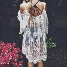 Blouse: lace dress cover up dress boho chic hipster indie crochet ruffle overthrow beach sun vogue