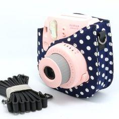 NodArtisan Colorful Dots Spot Cloth+PU fuji mini case for Fujifilm Instax Mini 8 Case + Free Shoulder Strap - blue