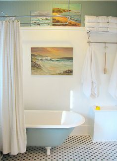 Vintage paint by numbers? Unframed and placed in the bathroom. Good use for my PBN ocean/island paintings.